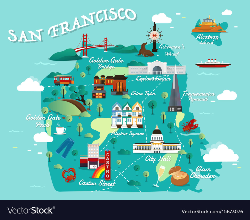 Map of san francisco vector image