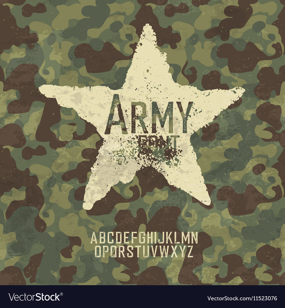 Military stamp letters Army font with camouflage vector image