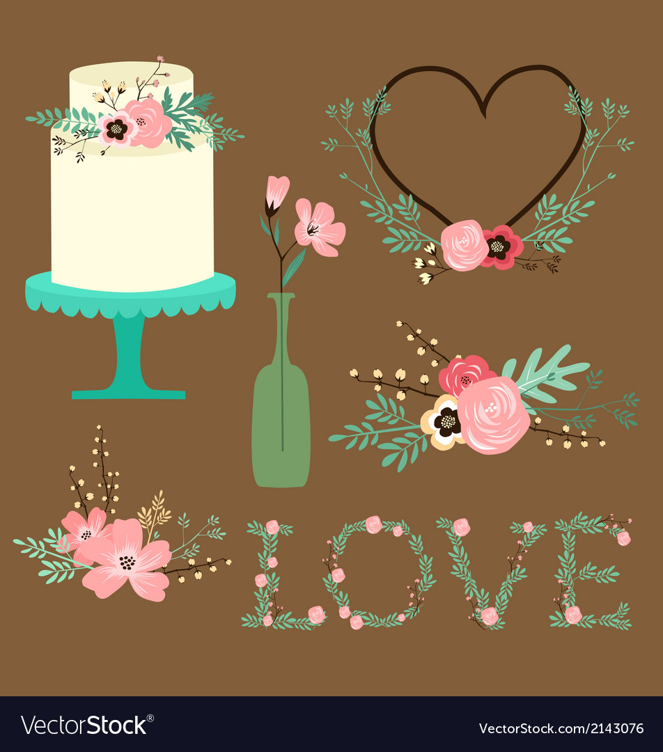 Rustic floral Wedding Clip Art vector image