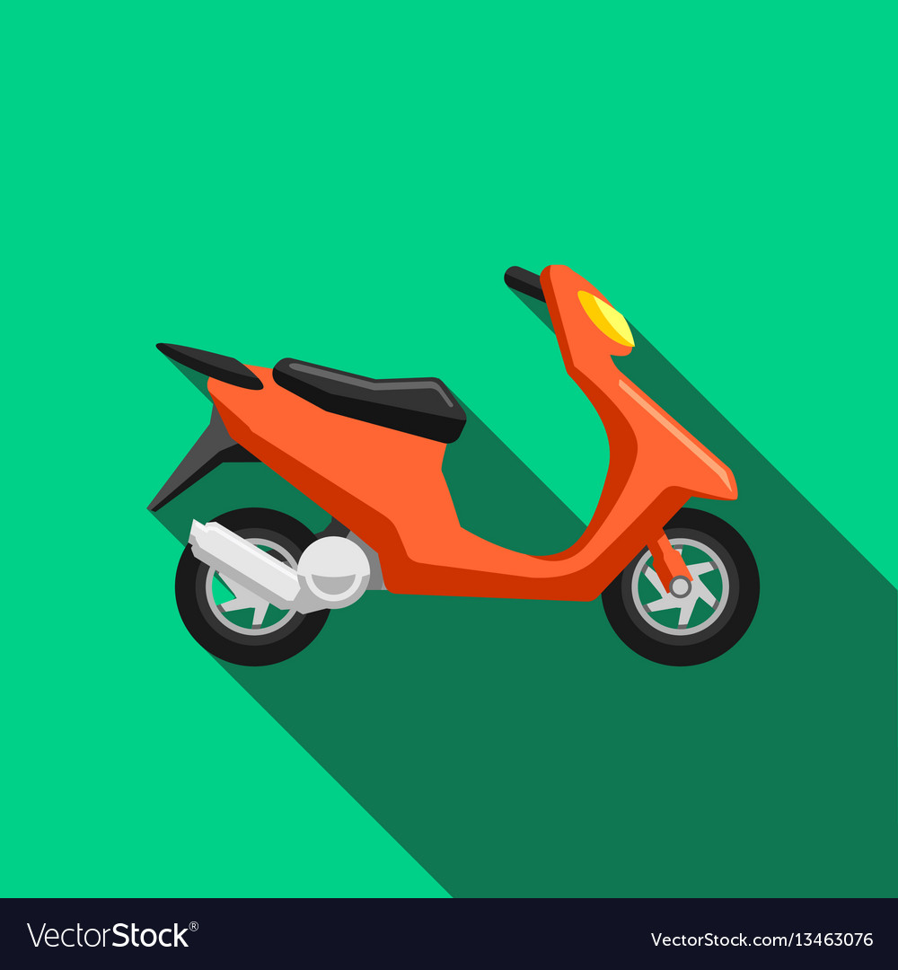 Scooter transport flat icons set moped