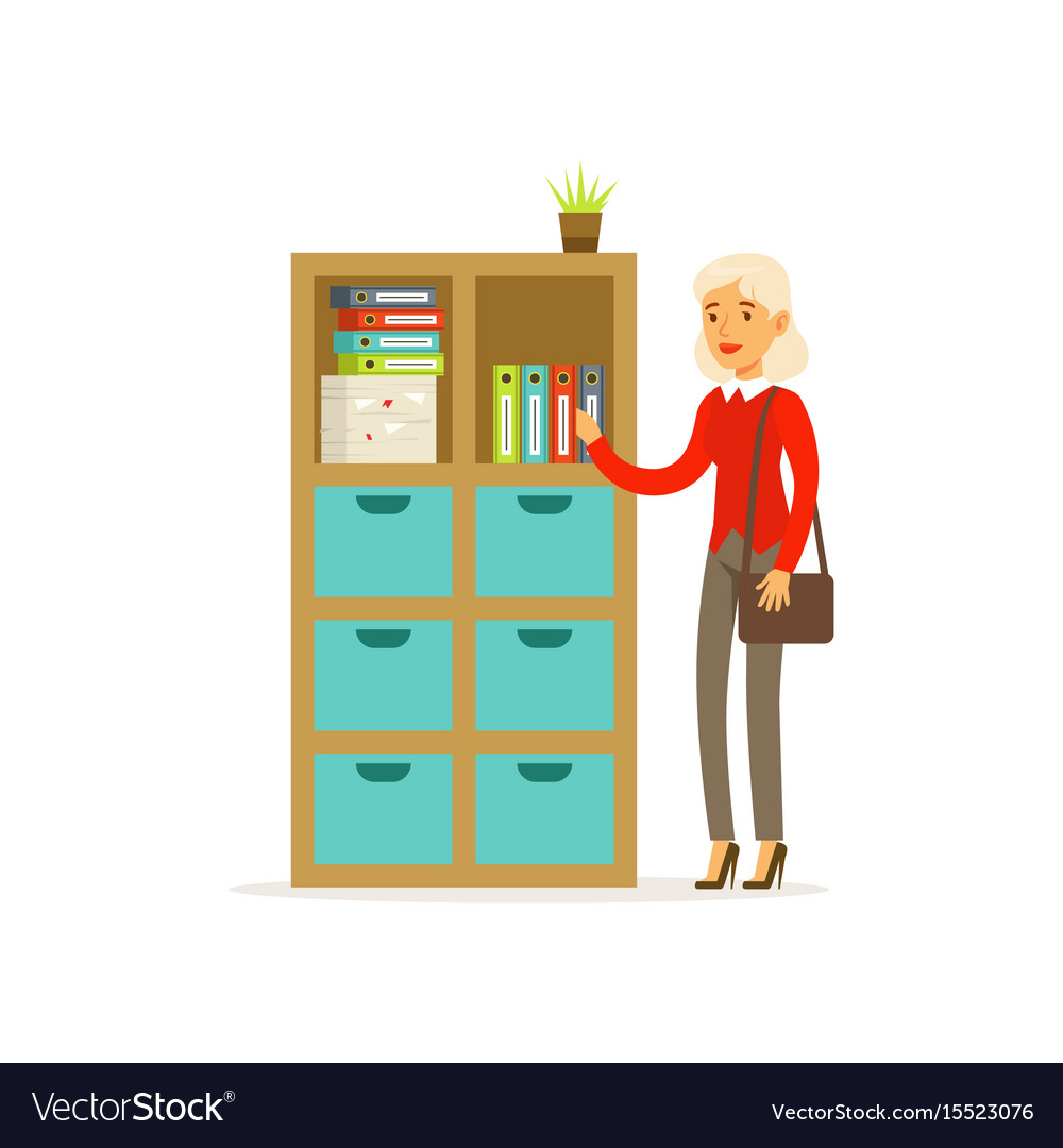 Senior woman standing in the office over folder