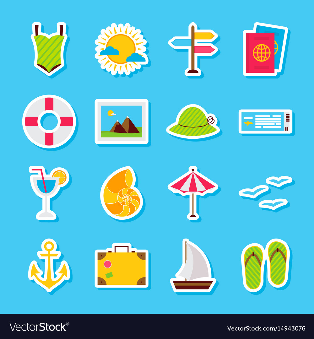 Summer travel stickers vector image