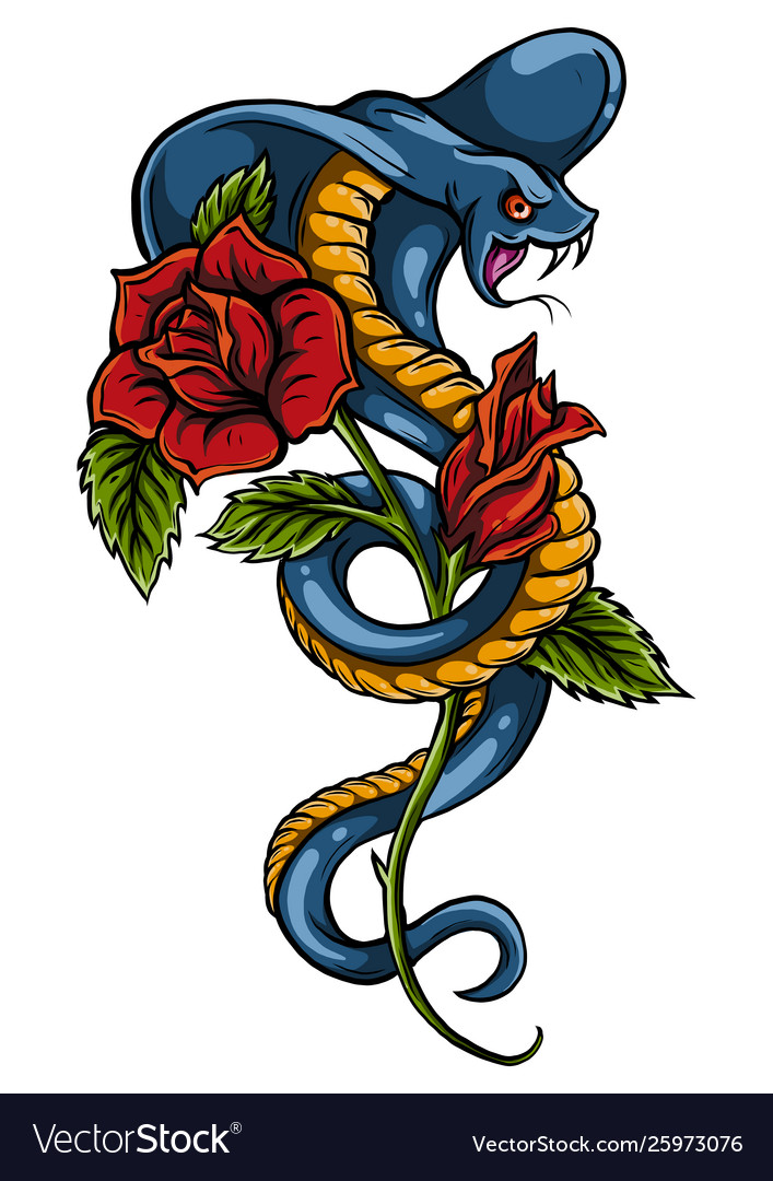 Tattoo with rose and snake traditional black dot
