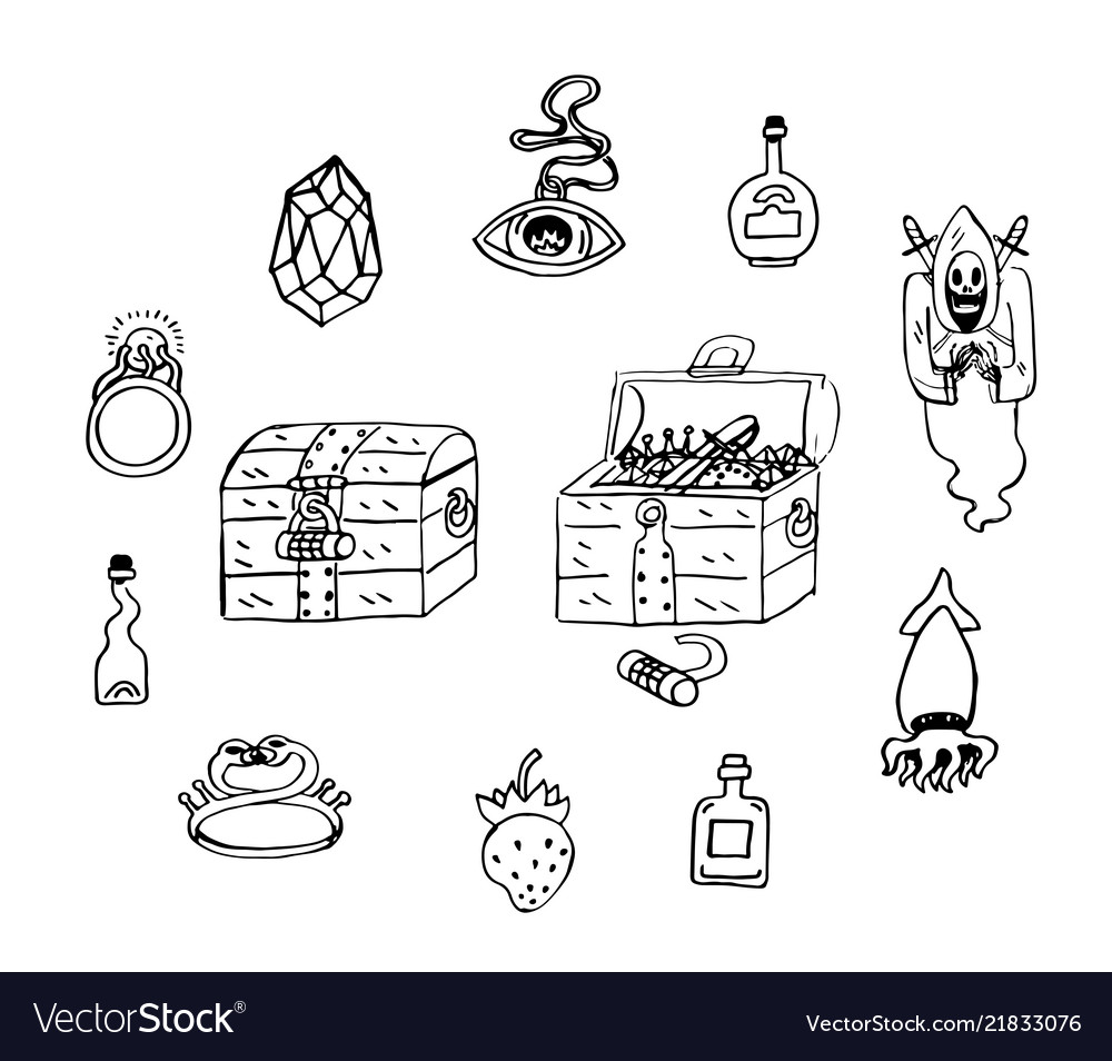 Treasure chest cartoon stickers sketch hoard save vector image