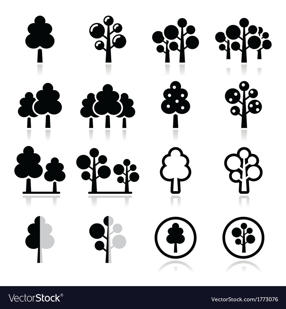 Trees forest park icons set
