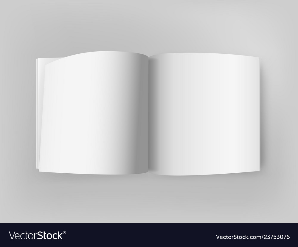 White square open book on grey table mockup