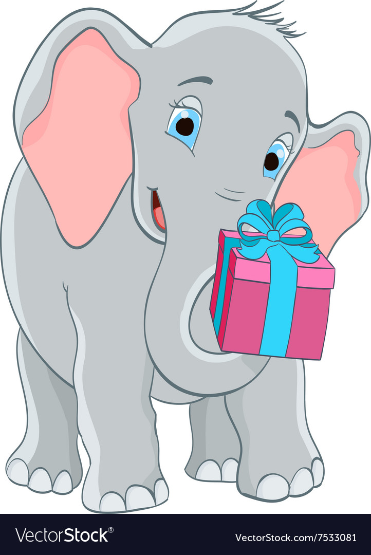 Baby elephant with a gift