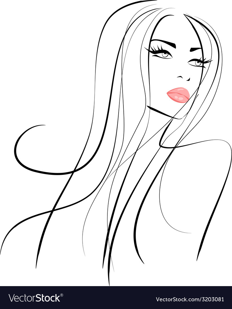 Beautiful girl with long hair and pink lips vector image