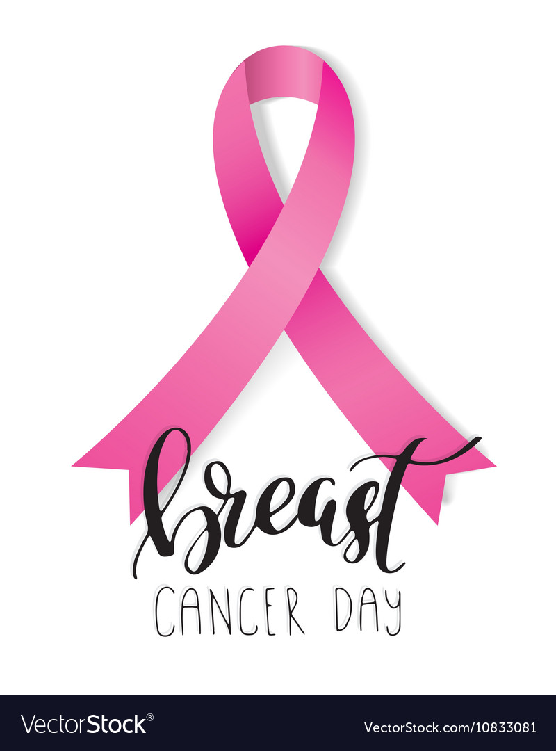 Breast Cancer Awareness pink Ribbon with lettering