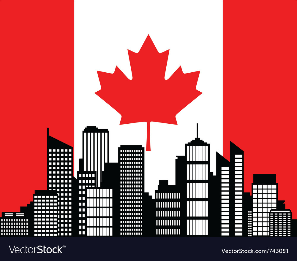 City and flag of canada