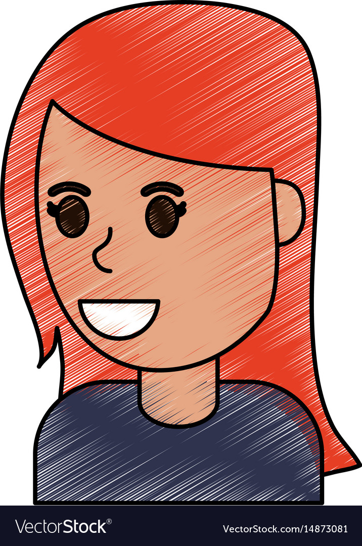 Color pencil cartoon side view half body girl with