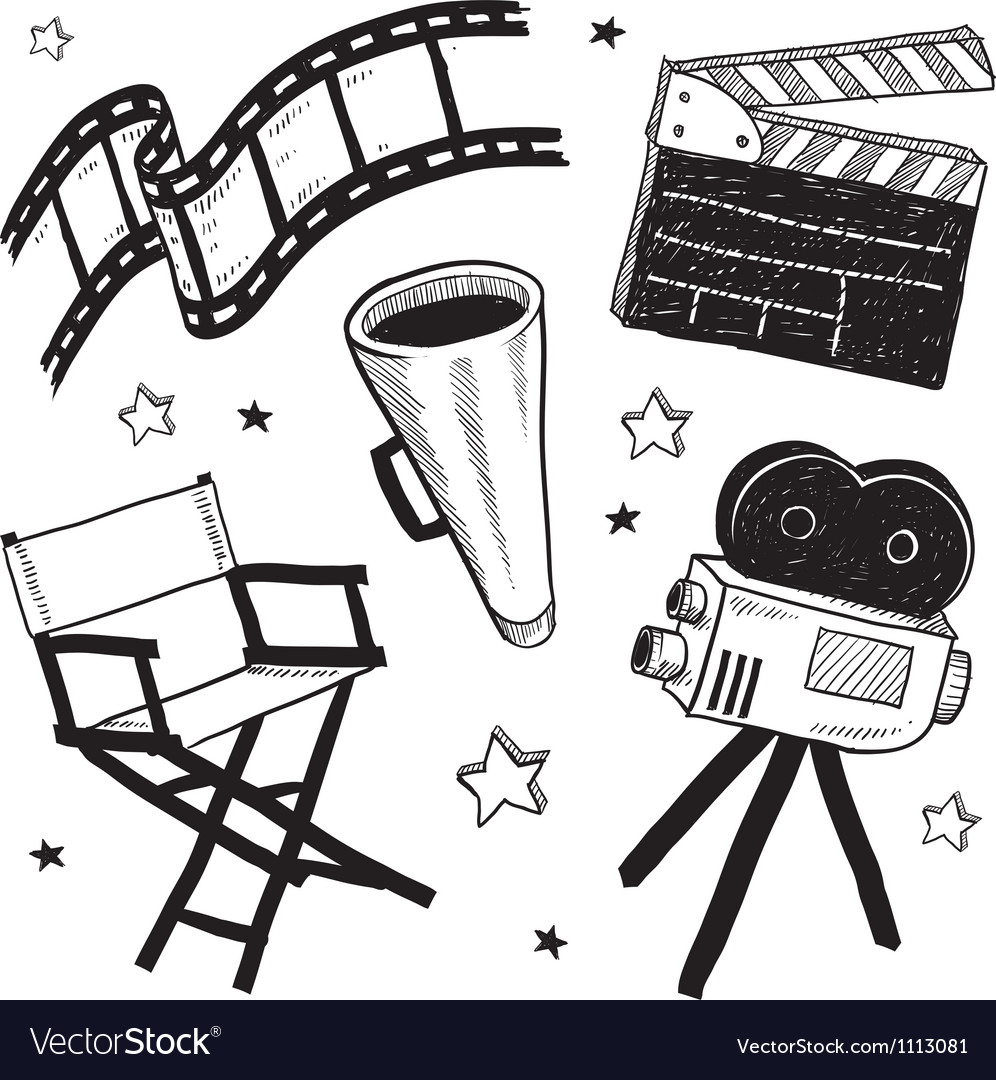 Doodle movie film camera director chair clapper vector image