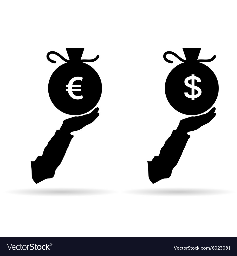 Euro and dollar in bag black