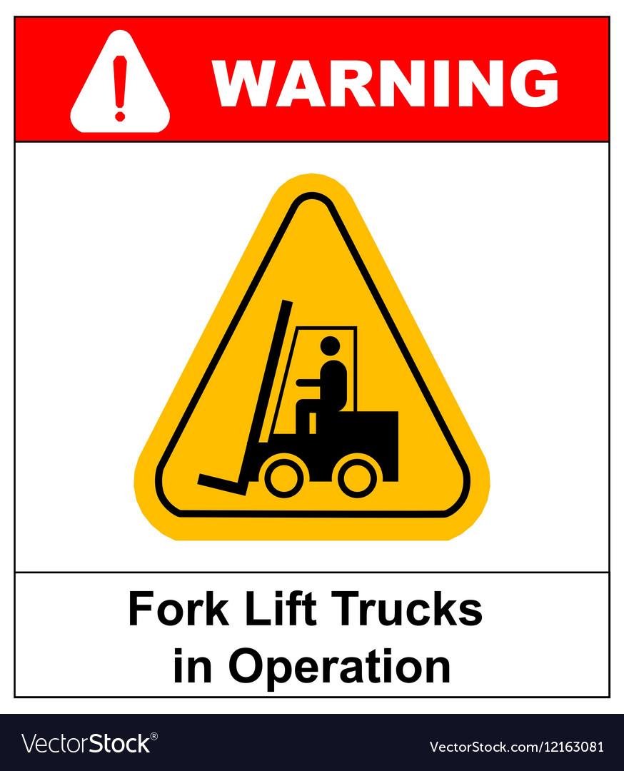 Forklift truck sign Symbol of threat alert vector image