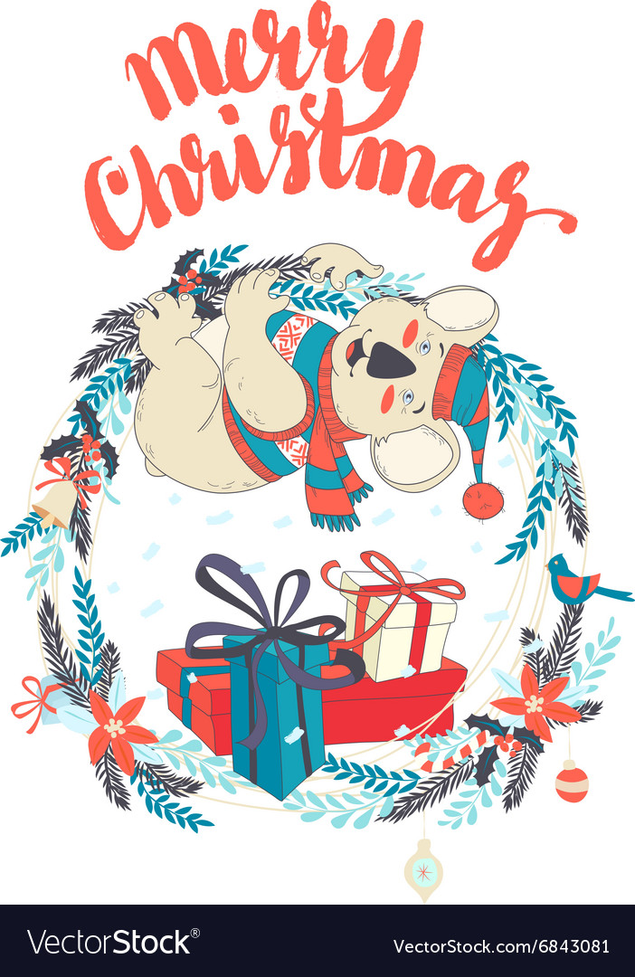 Funny Merry Christmas card with koala wearing cute