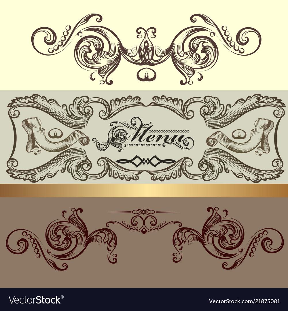 Menu design with hand drawn ornament