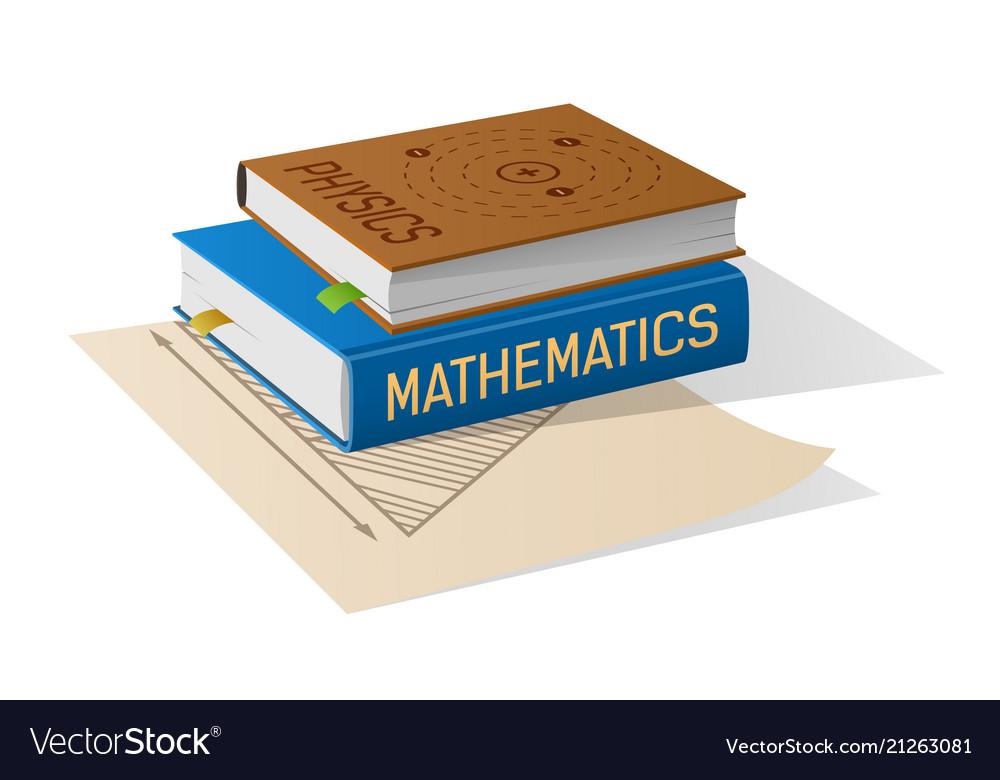 Physics and mathematics books on sheet of paper