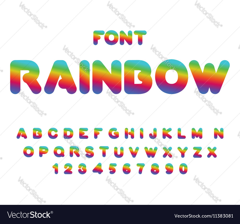 Rainbow font Rounded ABC Multicolored letters