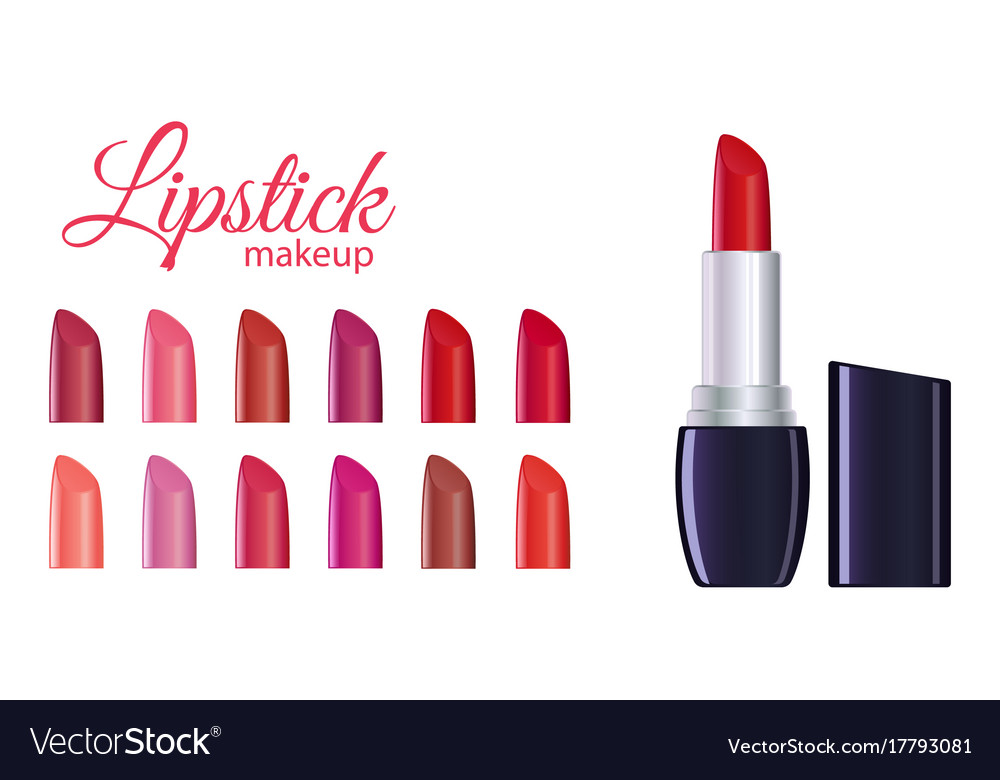 Red lipstick and palette vector image