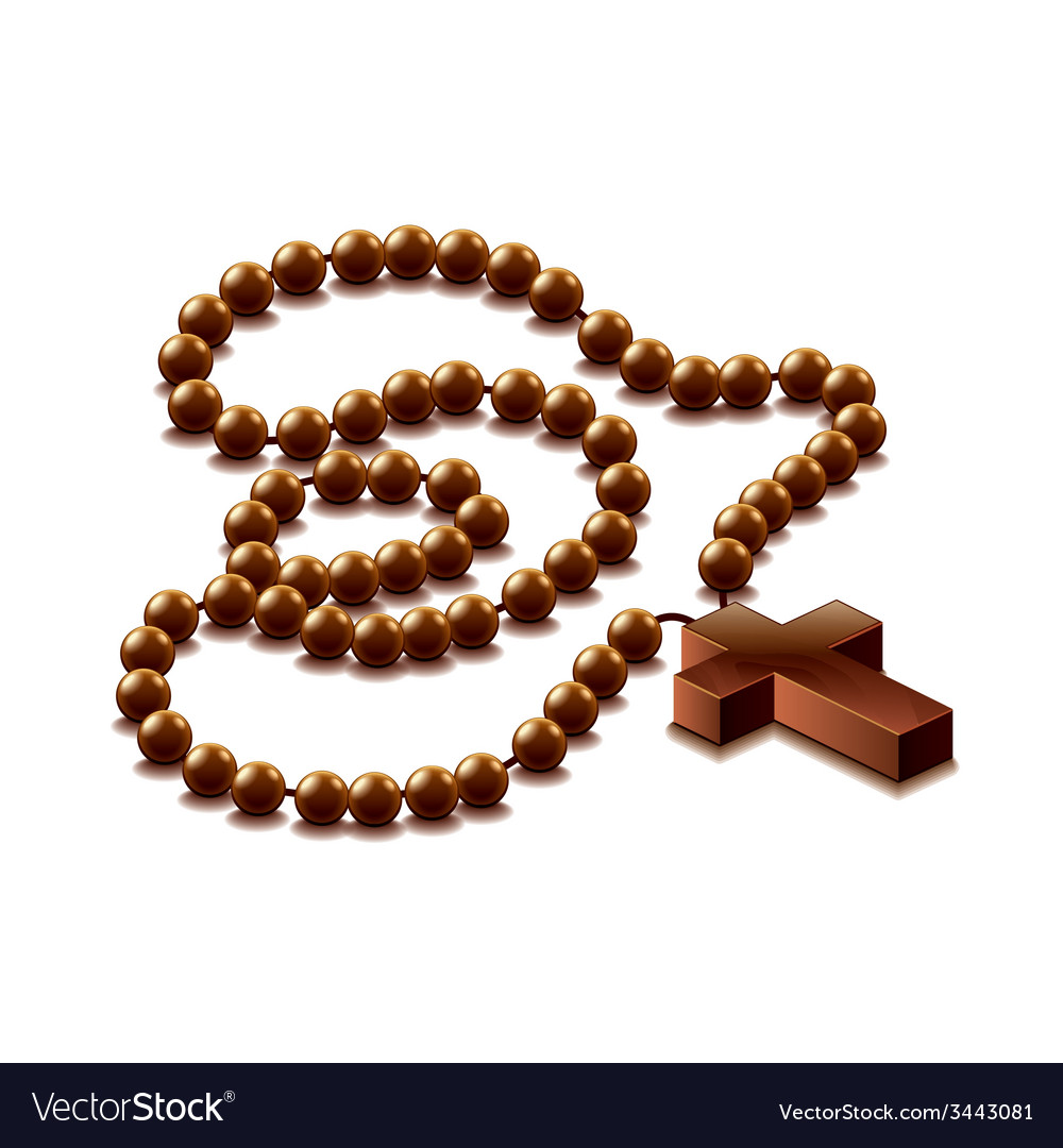 Rosary with cross isolated