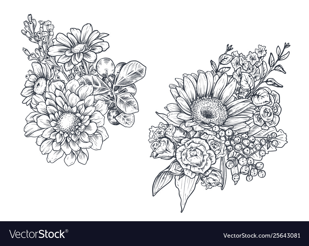 Set floral compositions bouquets with flowers