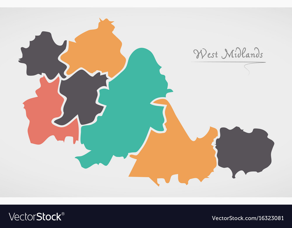 Map Of England Midlands.West Midlands England Map With States And Modern Vector Image