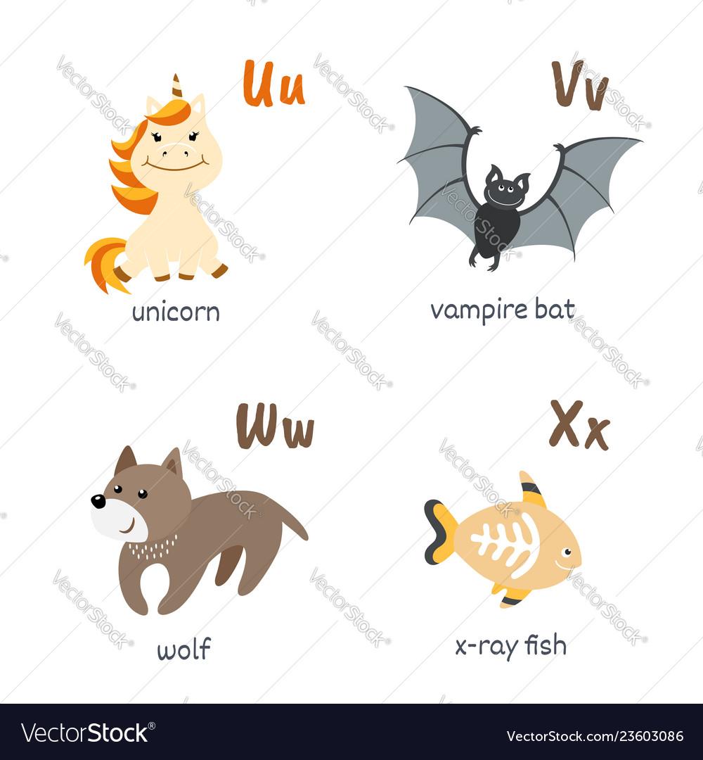 Animal alphabet with unicorn vampire-bat wolf