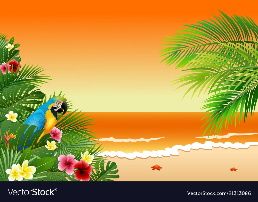 Card with tropical beach tropical plants and parr