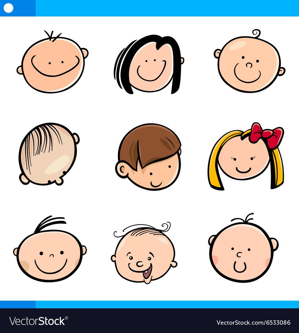 Cartoon kids faces set vector image