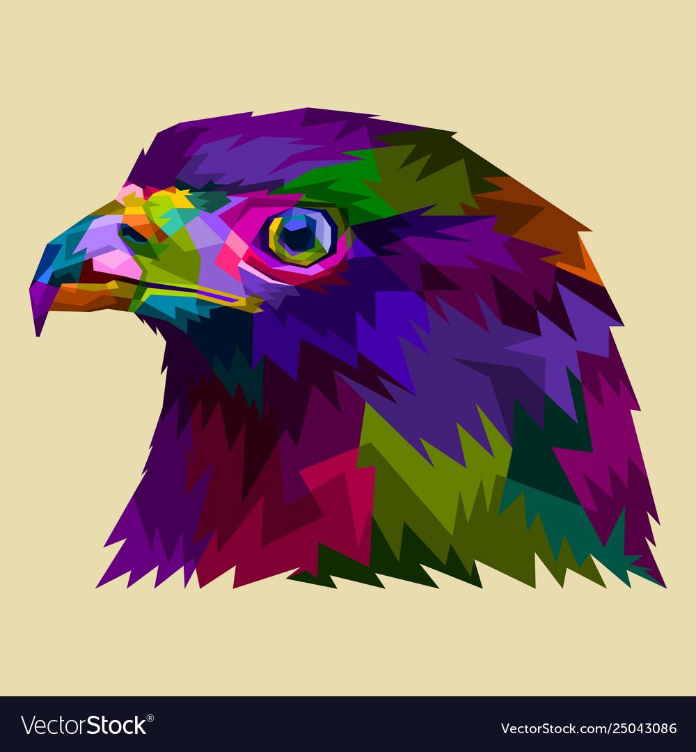 Colorful eagle heads facing side