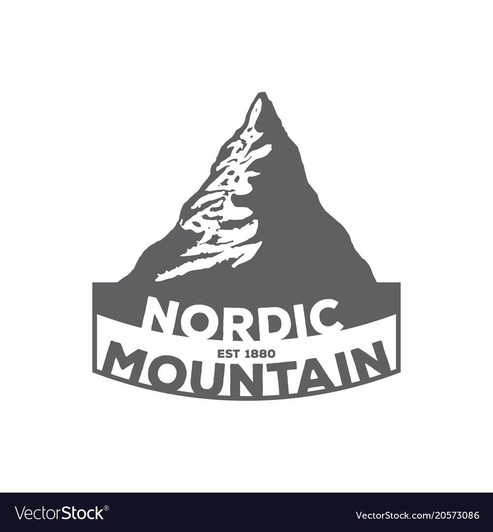 Monochrome vintage emblem of mountain