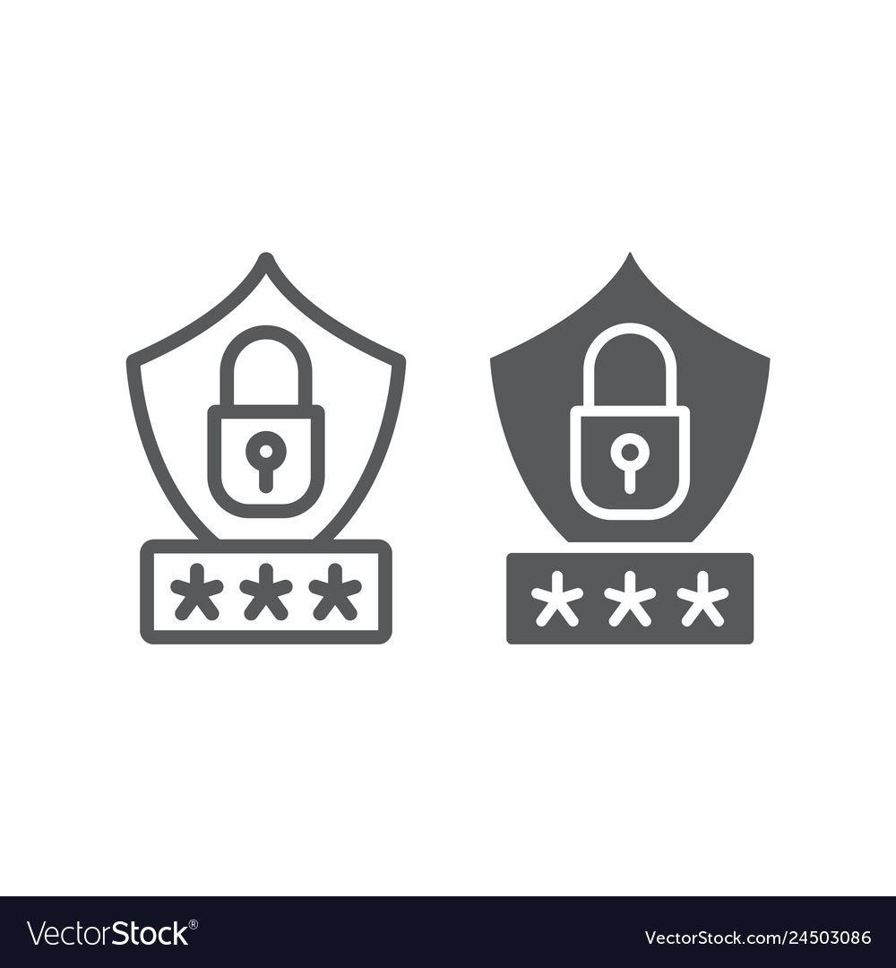 Password protection line and glyph icon privacy