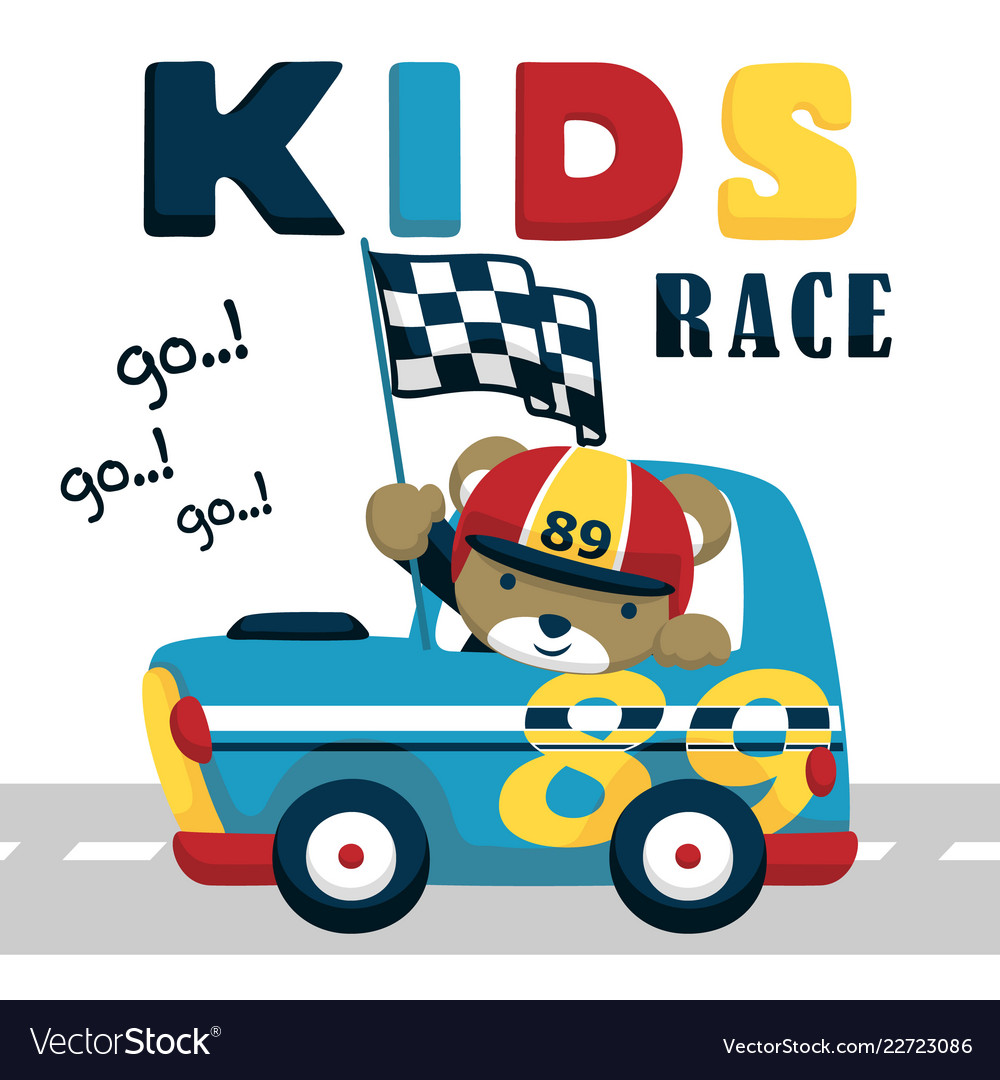Race Car Cartoon With Funny Driver Royalty Free Vector Image