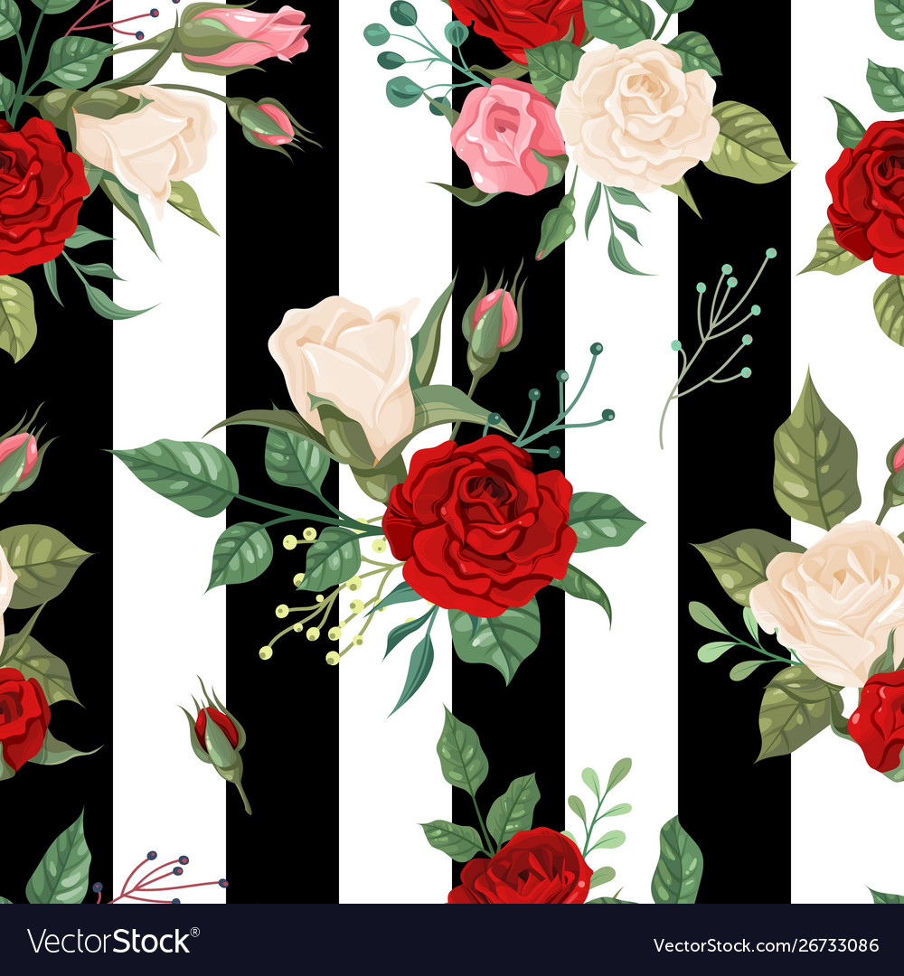 Roses seamless pattern background floral decor