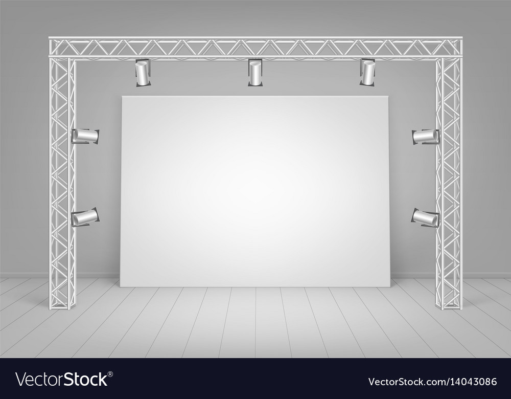 White poster with wall spotlights illumination