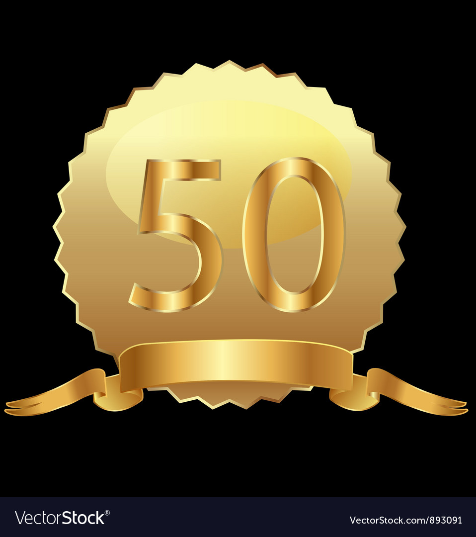 50 gold seal with ribbon vector image