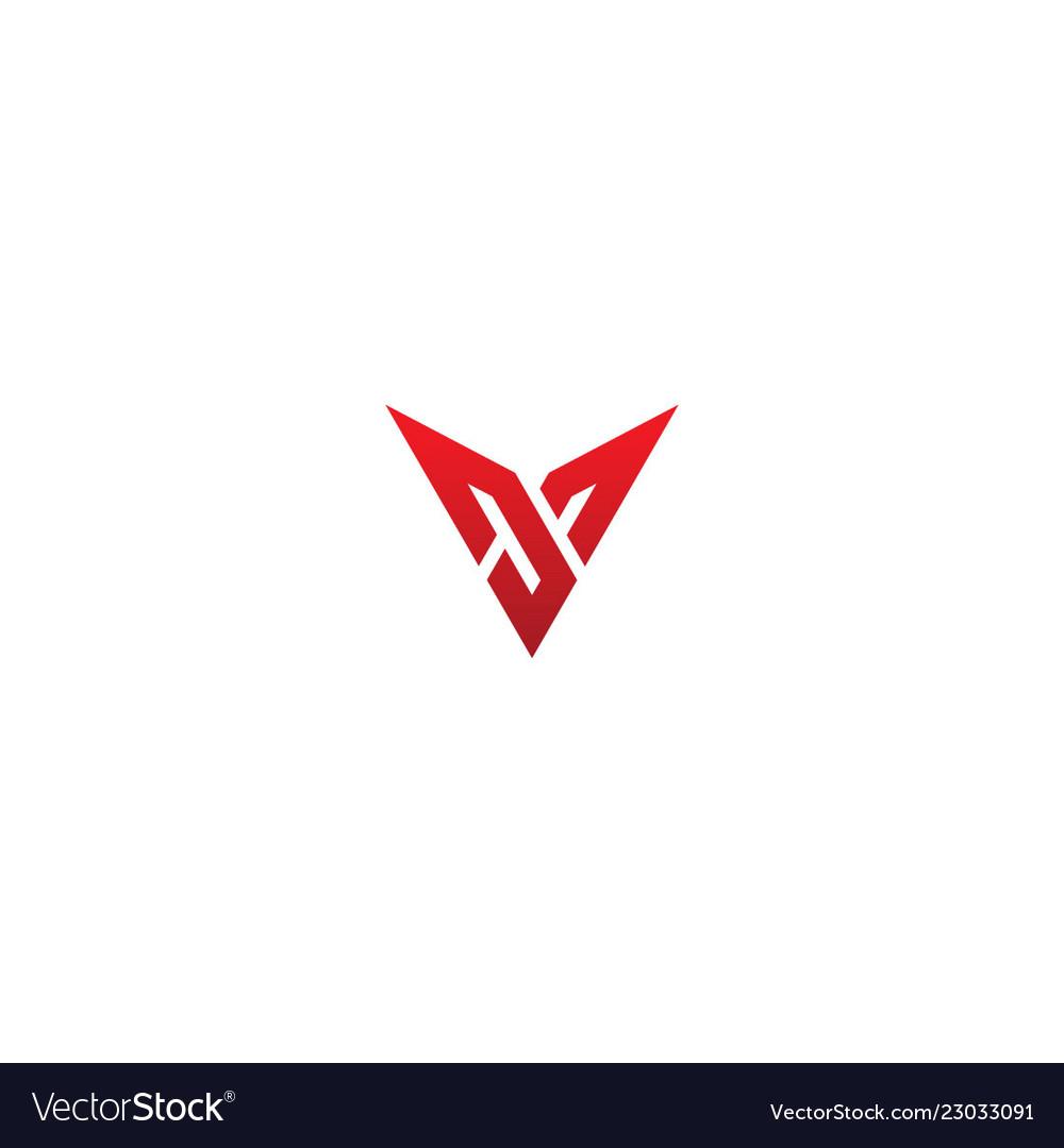 Abstract shape v initial company logo