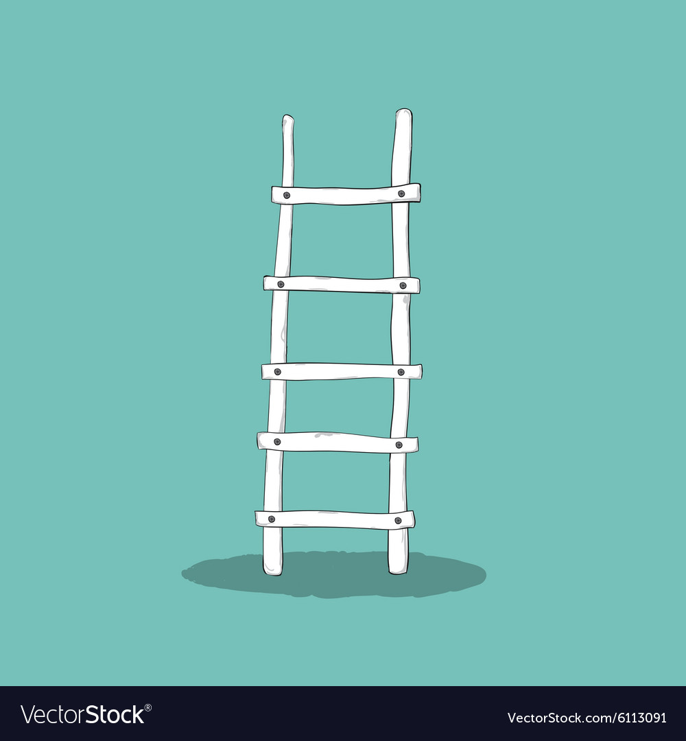 An of a wooden ladder Cartoon drawing by hand