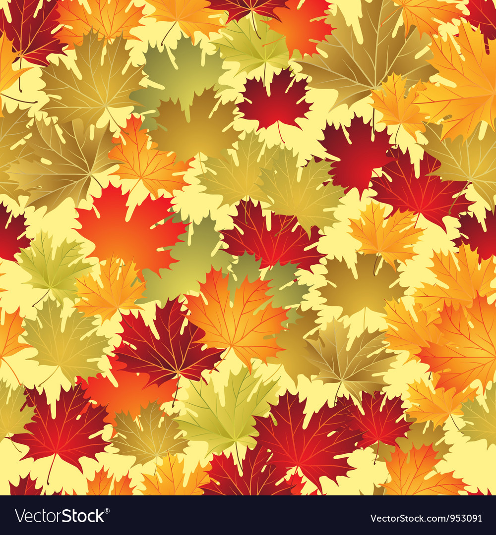 - Autumn Leaves Seamless Pattern Royalty Free Vector Image