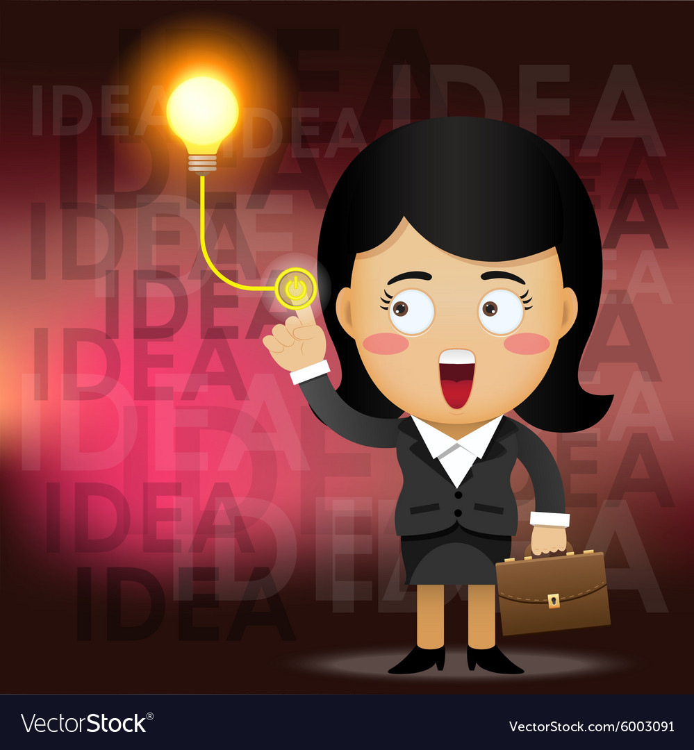 Business woman turning on idea light bulb vector image