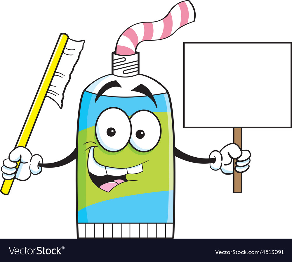 cartoon tube of toothpaste holding a sign vector image