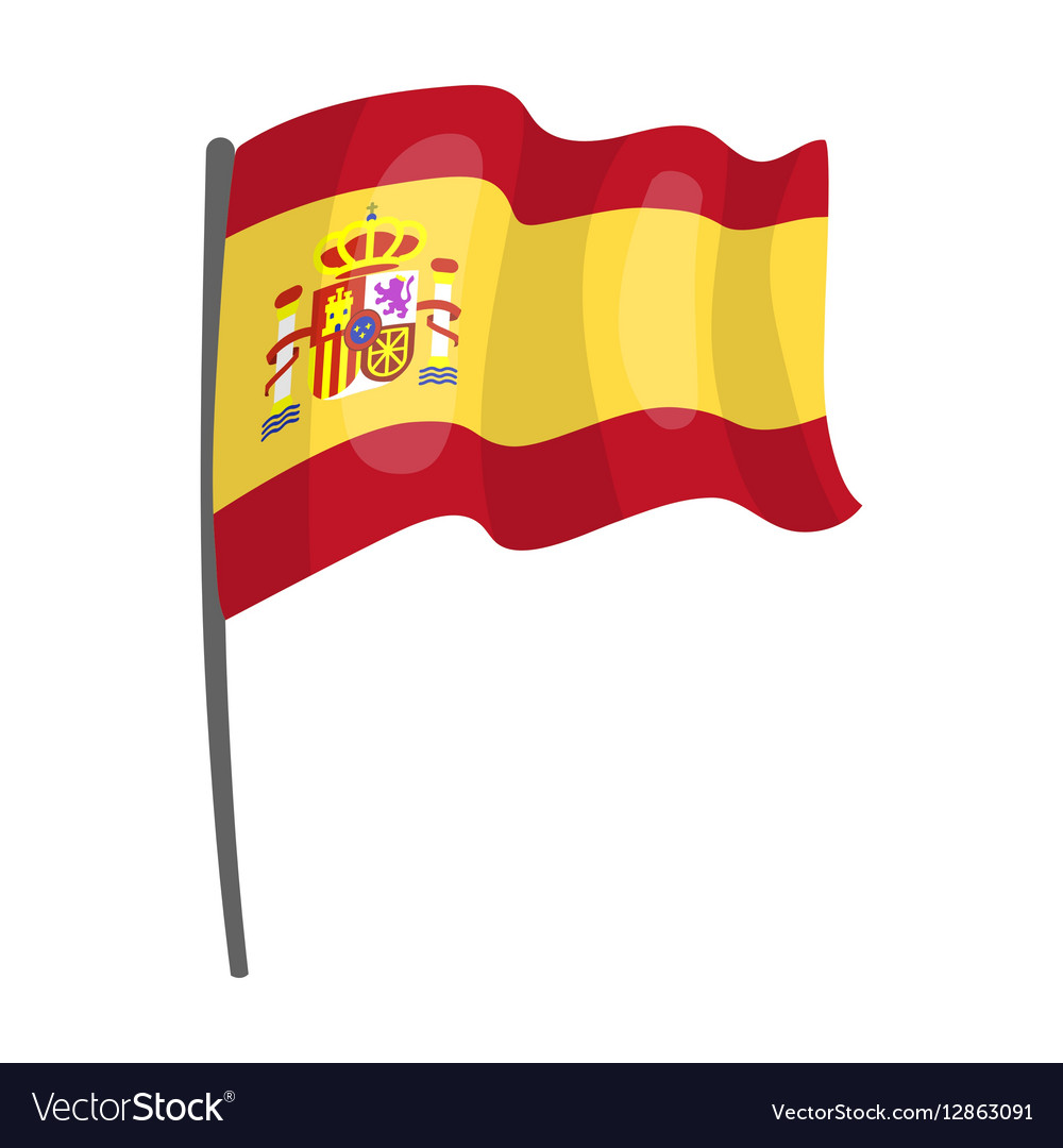 Flag Spain Icon In Cartoon Style Isolated On Vector Image