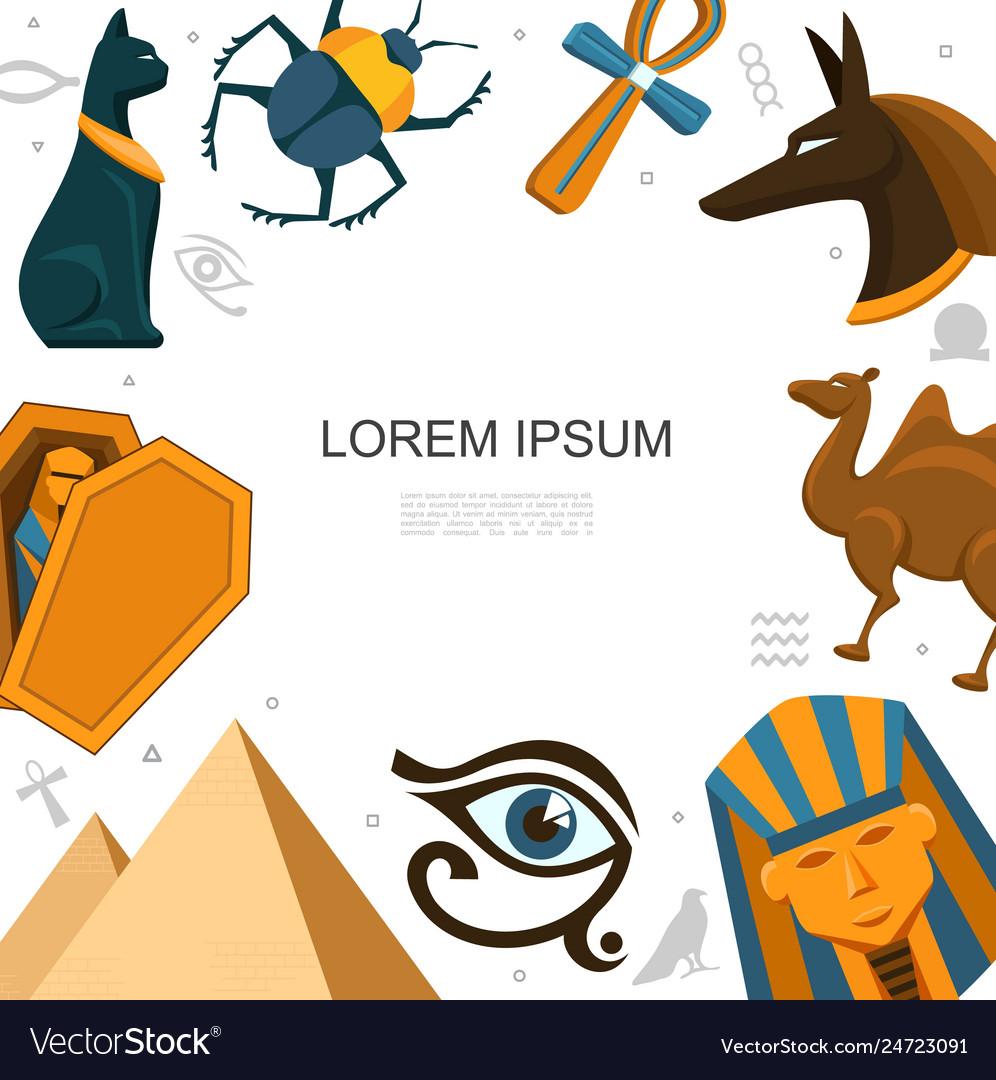 Flat egypt elements template