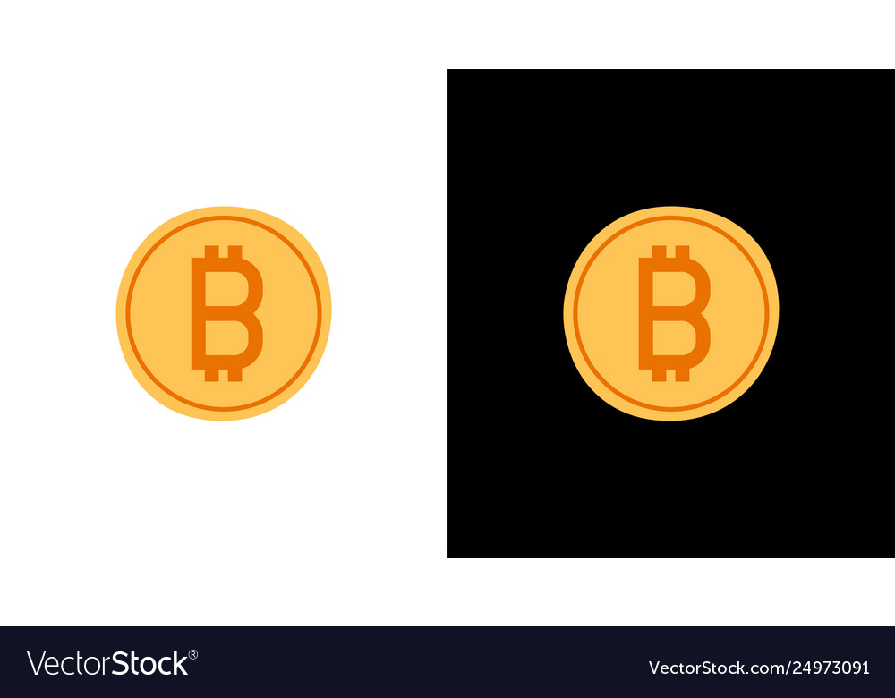 Golden bitcoin icon isolated on white and black