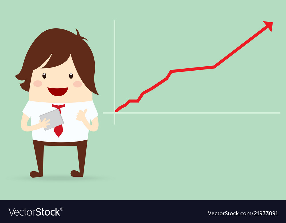 Happy businessman with growing graph chart
