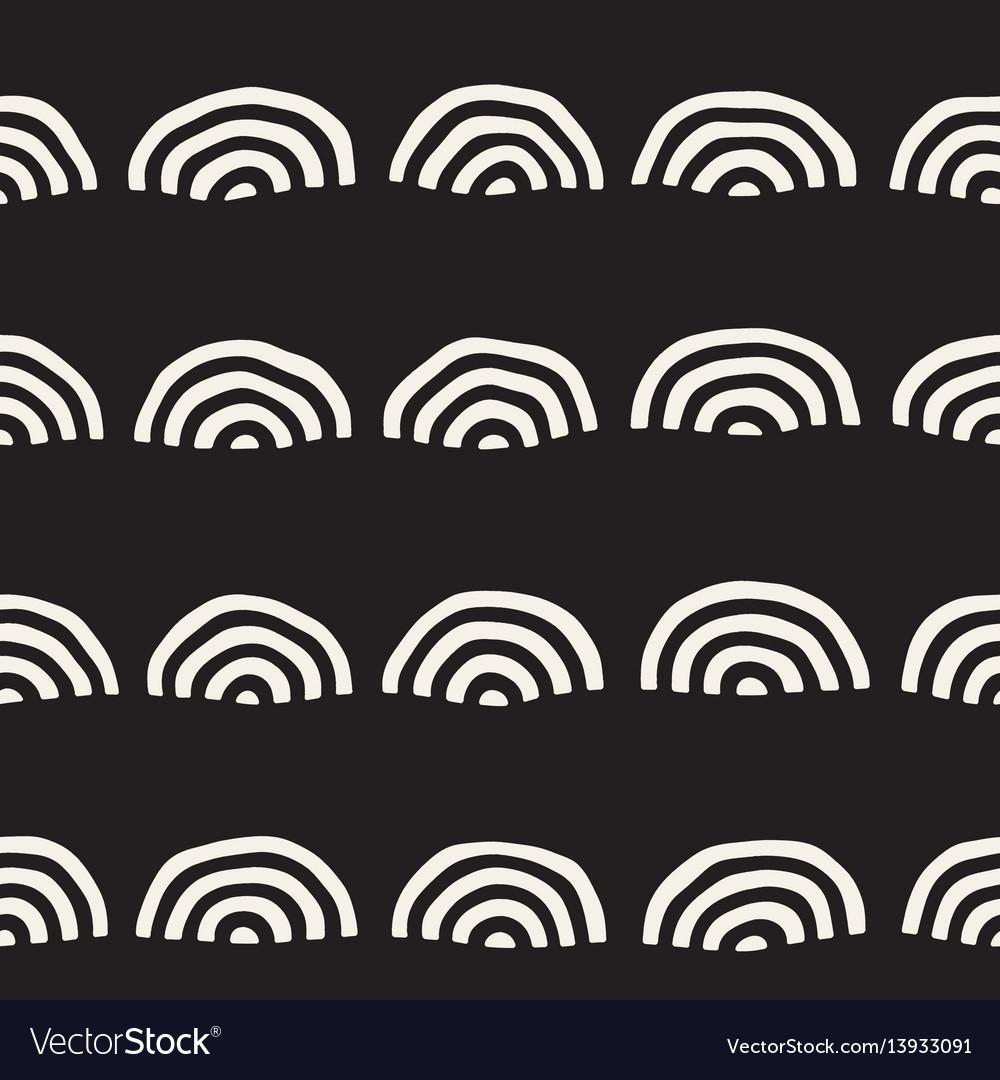 Monochrome minimalistic seamless pattern with arcs