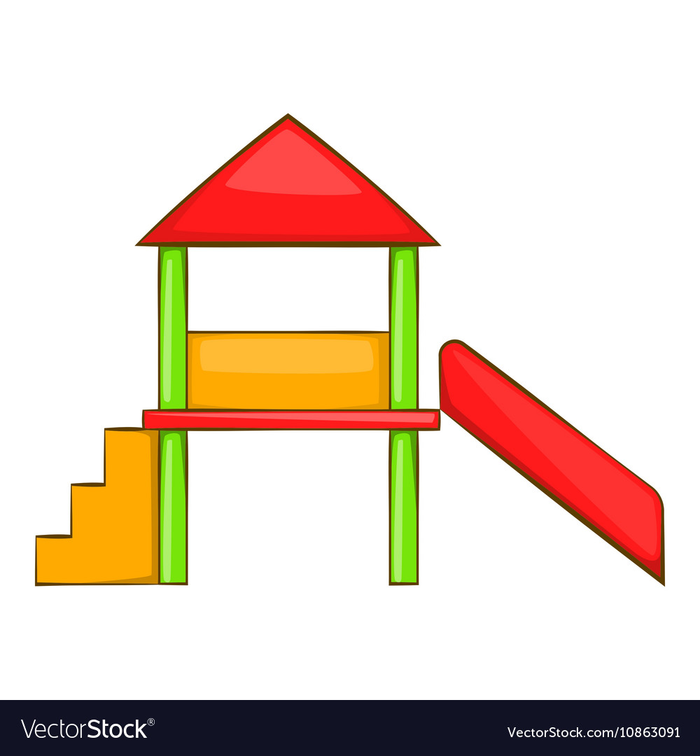 Playhouse with slide icon cartoon style