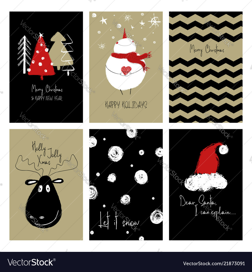 Set of funny christmas cards Royalty Free Vector Image