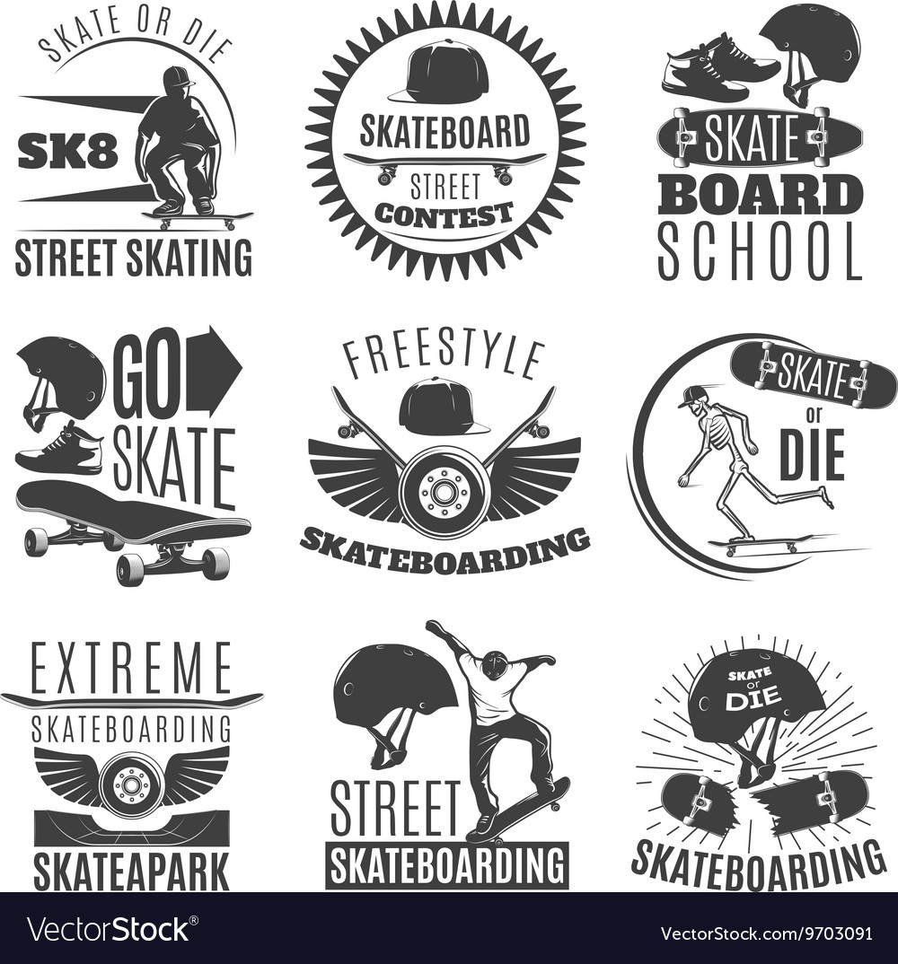 Skateboarding Emblem Or Label Set