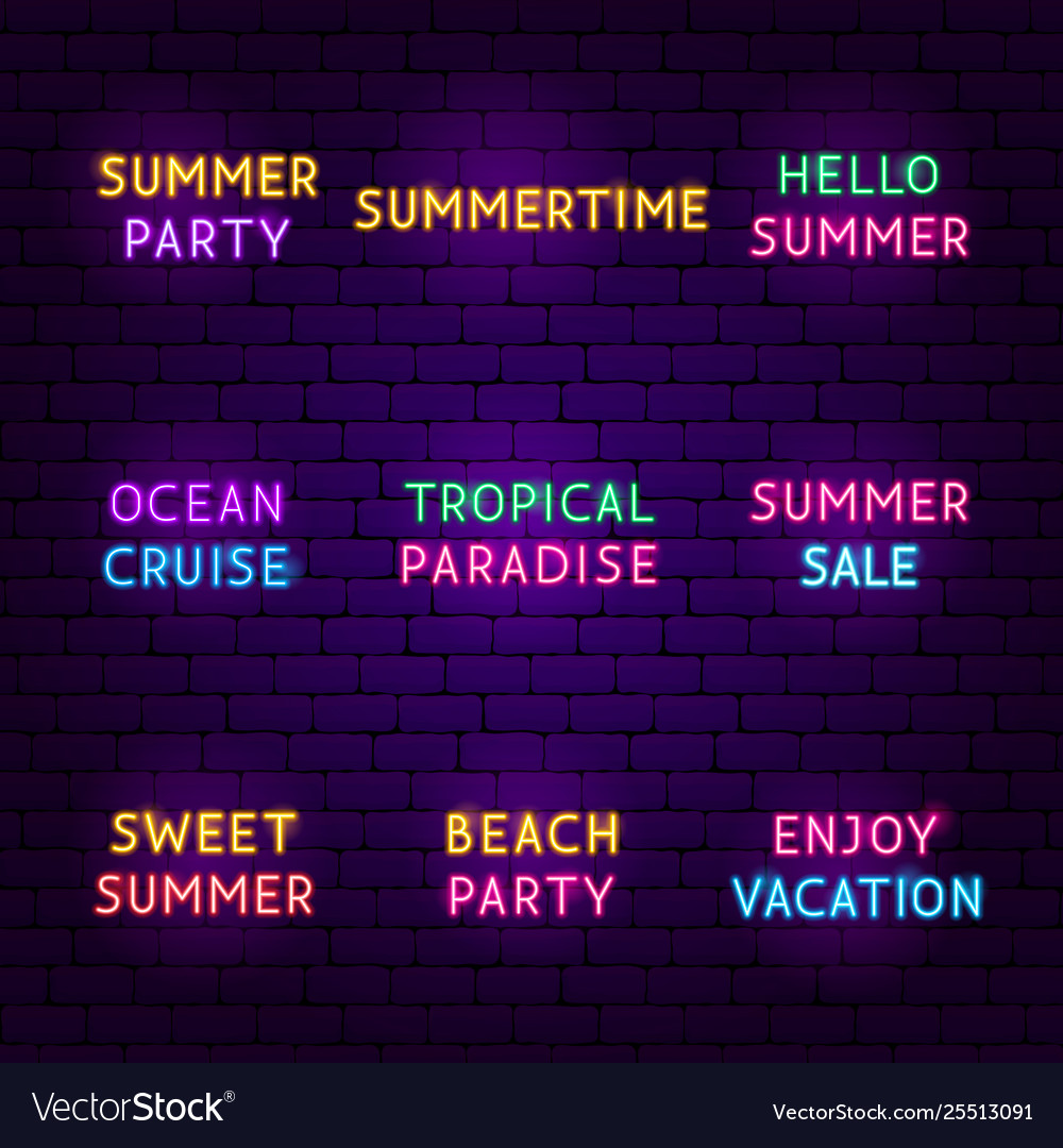 Summer travel neon text set